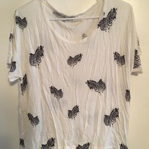 Lush wild zebra relaxed fit stretchy t shirt